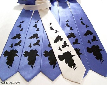 RokGear Neckties 5 Mens custom wedding neckties Crows print to order in custom colors