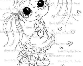 INSTANT DOWNLOAD Digital Digi Stamps Big Eye Big Head Dolls  IMG175 By Sherri Baldy