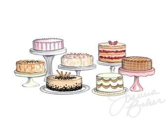 Fancy Cakes Illustration Art Print / Sweet Treats, Cakes, Wedding Print, Bakery Wall Art, Kitchen Wall Art, Home Decor, Dessert Art Print