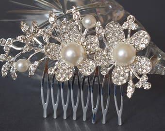 Wedding hair piece, wedding headpiece with Freshwater pearls, Wedding hair comb, Pearl Hair Comb, Bridal Hair Comb, Bridal Hair Piece