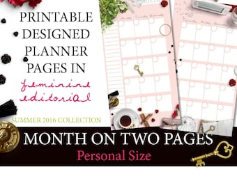Feminine Editorial Printable Designer MONTH on TWO PAGES (Personal Size) Planner Inserts