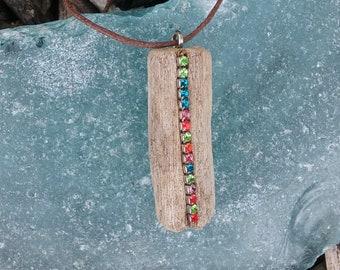 driftwood  necklace/ driftwood jewelry/ driftwood pendant/  driftwood rhinestone necklace