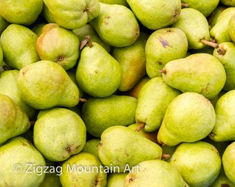 Pear art for kitchen.  Fruit wall art or kitchen wall art from food photography.  Fine art print for kitchen decor or wall art.