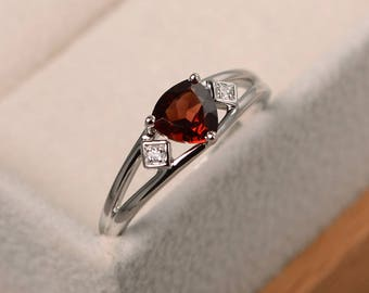 Engagement ring, natural garnet ring, trillion cut red gemstone, January birthstone, sterling silver ring