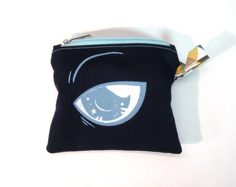 Angry Blue Fox Little Pouch, Kitsune Coin Wallet, Screen Printed Zipper Pouch, Small Fabric Bag, Coin Purse, Animal Coin Pouch Lolita Girl