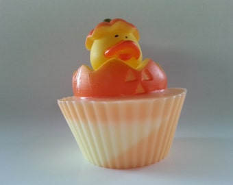 1 Pumpkin Rubber Duck Halloween Cupcake Soap, Halloween Decoration, All Hallows Eve, Fall Fun Soap, Halloween Treat, Pumpkin Soap, Pumpkin