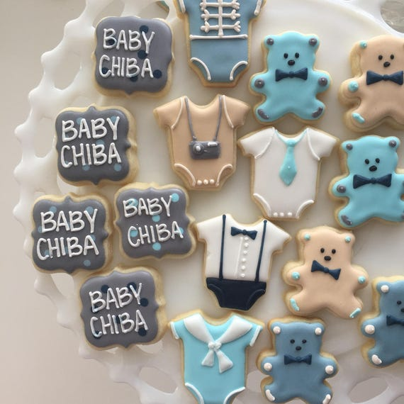 Baby Shower Cookies, Baby Shower, Shower Cookies, Mini Cookies, Little Boy  Cookies, Treat Bags, Party Favors, Baby Boy Cookies