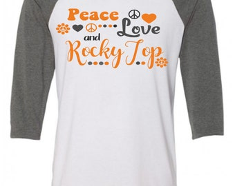 Tennessee , Peace, Love, Rocky Top,  T-shirts, Volkswagen Bus, Volkswagen Van, Tennessee Vols Raglan, Rocky Top Baseball Tee,UT Vols T-Shirt