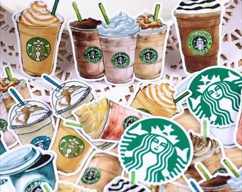 25 Pcs Starbucks Sticker, Starbucks Sticker Flakes, Coffee Filofax Stickers, Scrap booking, Coffee Schedule stickers, Coffee Sticker Flakes