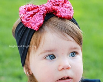 Hot pink bow and black head wrap, sequin sparkle bow headband, infant head wrap, baby bow, 1st birthday, black headband, 1st valentine's day