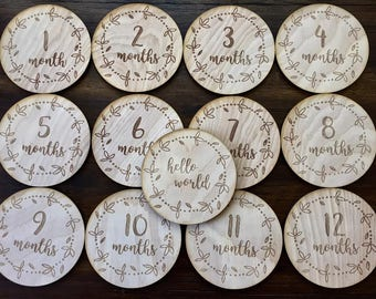 Leafy Dot Baby Monthly Milestone Plaques