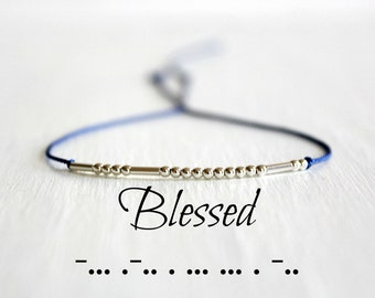 Minimalist Morse Code Bracelet Blessed Bracelet Gift for Her Dainty Motivational Jewelry Silk Cord Sterling Silver Tiny Beads Bracelet