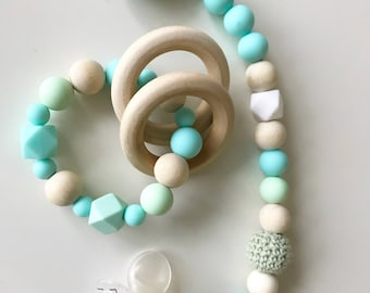 Baby gift set- pacifier clip and teething toy