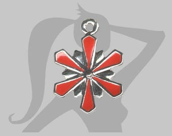 Frozen snowflake with red enamel and metal star charm
