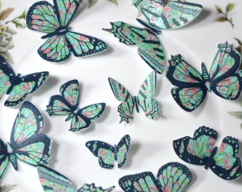 Edible Butterflies Wafer Rice Paper 3D Tropical Turquoise Pink Floral Butterfly Wedding Cake Decorations 1st Birthday Cupcake Toppers Cookie