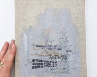 Original Embroidery Burlap Canvas Acrylic Thread Mixed Media Artwork Wall Art Home Decor Needlework Textiles Texture Painting