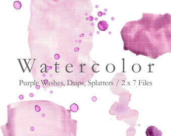 WATERCOLOR - Hand Painted Purple Washes, Drips, Splatters. 7 Digital Clip Art Files in .JPG and .PNG