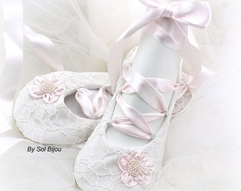 White and Blush Wedding Flats Shoes Ballet Slippers Lace Ballet Flats Celtic Shoes Lace Shoes for Brides Women Flat Shoes