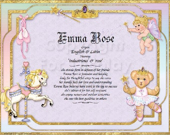 Little Princess Personalized Name Meaning Print