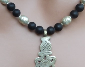 Ethiopian Star of David Pendant with Honed Onyx and Silver Prayer Beads