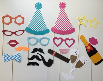 Birthday Celebration Birthday Photobooth Props Holiday Photo Booth Props Set of 20