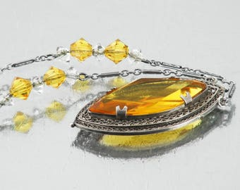 Vintage Necklace with Yellow Glass Pendant | Filigree Silver Setting Golden Citrine Glass Navette Pendant | Art Deco Jewelry - 18 Inch Chain