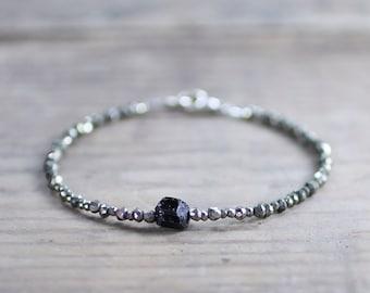 Delicate Pyrite & Black Tourmaline Bracelet, Sterling Silver or Gold Filled Natural Gemstone Bracelet, Raw Rough Black Tourmaline Jewelry