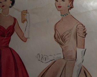 Vintage 1950's McCall's 9533 Evening Dress Sewing Pattern  Size 20  Bust 38
