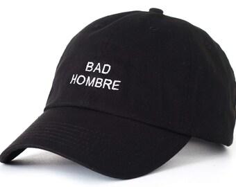 Black Dad Cap Bad Hombre Barack Obama Low Profile Hat **Free Domestic Shipping**