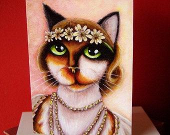 Daisy Calico Cat 5x7 Blank Greeting Card, Great Gatsby Flapper Cat Art