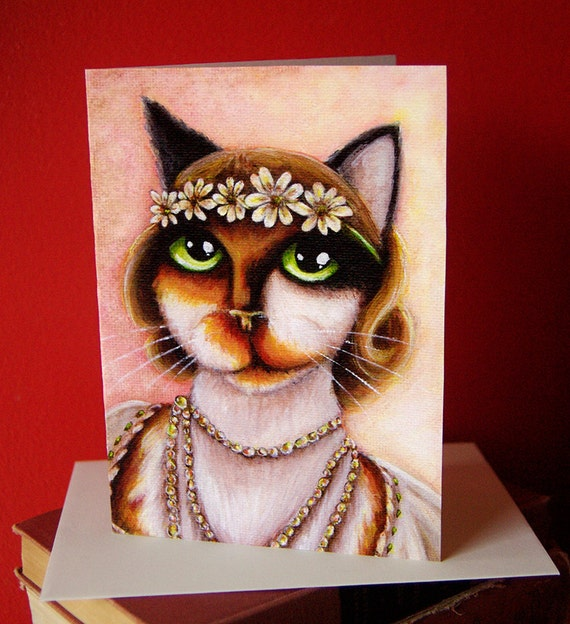 Daisy Calico Cat 5x7 Blank Greeting Card, Great Gatsby Flapper Cat Art