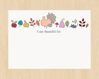 Thanksgiving Thankful For Cards, Gratitude Cards, Games, Activities, Table Setting, Place Setting, Printable Cards, Instant Download, PDF