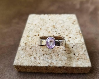 Genuine Pink Sapphire Ring, Sterling Silver Hammered Band