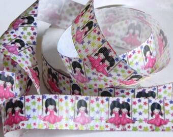 "Ballerina Grosgrain Ribbon 5 yards of White w/ Ballerina Print 1"" Ribbon for Hair Bows Dance Recitals Pink Tutus & Colorful Stars Dancer"