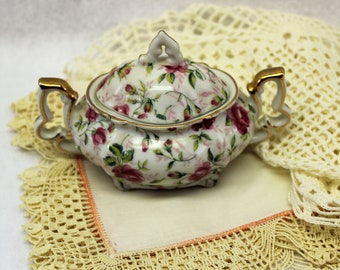 Lefton China Vintage Sugar Bowl  Trinket Dish  With Lid  Jewelry Ring Box  Rose Chintz  2 piece  Numbered  Vintage Bride  Farmhouse decor