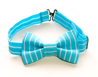 Bow Tie - Blue & White Striped Bowtie