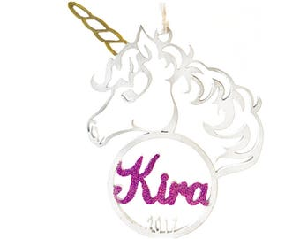 Personalized Unicorn Ornament, Christmas Ornament, Christmas Gift