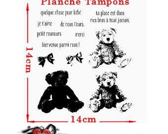 Teddy bear relief and French text stamp. Plate 13 stamps.  Size 14cm