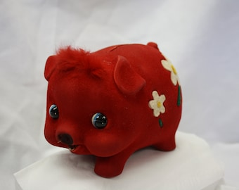 Red Velvet Vintage Piggy Bank, 1960's