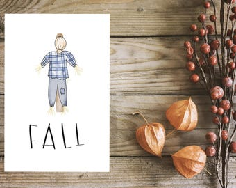 scarecrow, instant download, fall, hand sketch, home decor, autumn