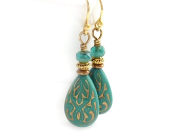 Turquoise Teardrop Earrings - Acrylic Beads with Gold Inlay - Aqua Fire Polished Beads - Vintage Style Earrings