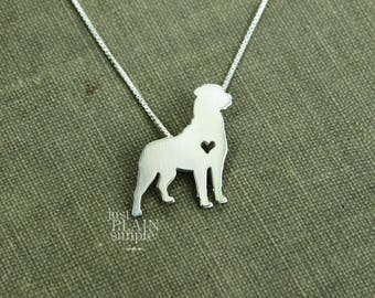 Rottweiler necklace, sterling silver hand cut pendant with heart, tiny dog breed jewelry