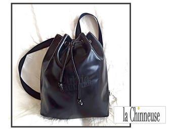 JEAN PAUL GAULTIER Bag / Vintage J.Paul Gaultier bag / black leather backpack / For her For Him / Made in France / Vintage Trendy Leather Bag.