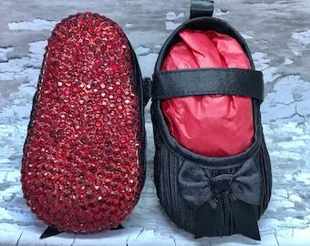 Black Satin Bow Red Sole Baby Pram Shoes - Diamanties, bling - Like Mummy's Louboutins but Designer Inspired! Louboutin Baby!