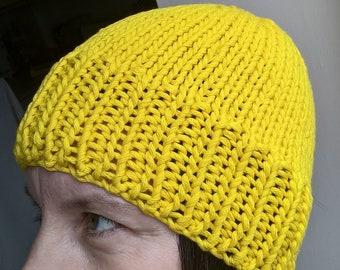 Bright Yellow Cotton Beanie Hat; Unisex Beanie Hat; Knitted Beanie Hat; Yellow Ladies Beanie Hat; Yellow Men's Beanie Hat