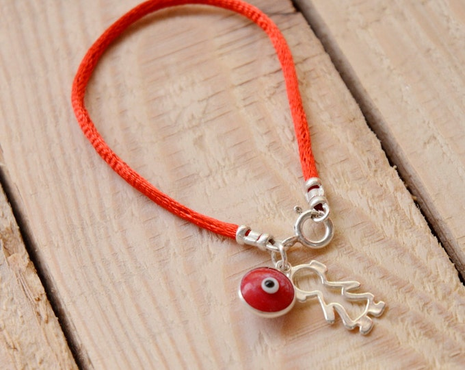 Girl Power Protection Silver Charm on Red String Bracelet - Choose Size
