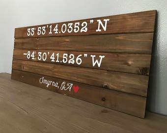 Personalized Latitude/Longitude Wood Sign