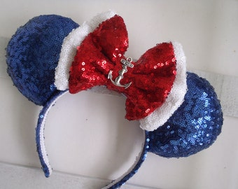 """Super Sparkle Sequin """"Disney Cruise"""" Custom Mouse Ears inspired by Disney"""