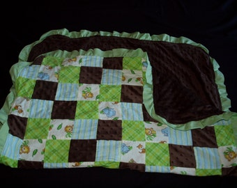 Jungle Theme Baby Blanket with brown minky