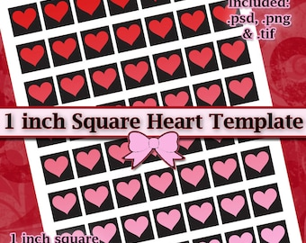 1 inch Square Heart Frame DIY DIGITAL Collage Sheet TEMPLATE 8.5x11 Page with Video Tutorial Instructions (Instant Download)